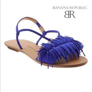 Banana Republic Riley fringe cobalt sandal 6.5